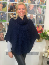 Load image into Gallery viewer, Cable Knit Poncho (various colours)