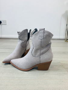 Slouchy Heeled Suede Feel Ankle Boot - chichappensboutique