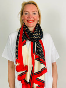 Bridle Print Satin Scarf in black/red - chichappensboutique