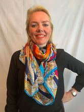Load image into Gallery viewer, Satin scarf with chain design in turquoise & orange - chichappensboutique
