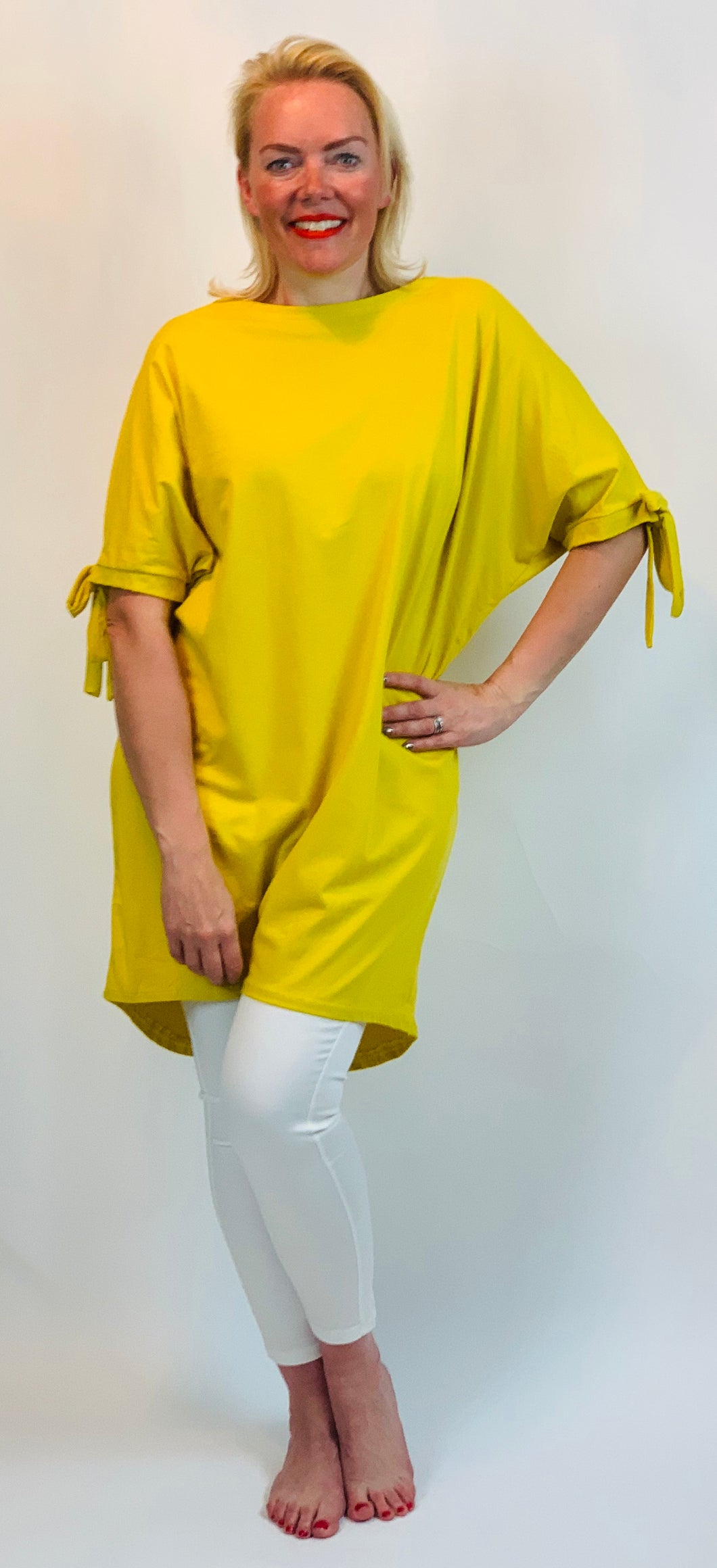 Tie Sleeve Longline T - chichappensboutique