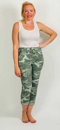 Camo Essential Turn Up Trousers - chichappensboutique