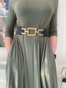Gold Square Stretch Belt - chichappensboutique