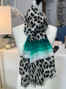 Animal Scarf with Tonal Stripes (various colours) - chichappensboutique