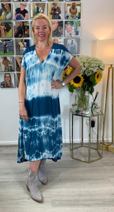 Abstract tie dye capped sleeve dress