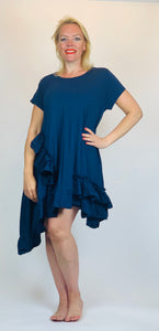 Ruffle Edge Short Sleeve Tunic - chichappensboutique