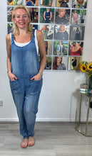 Load image into Gallery viewer, Soft pale denim dungarees with adjustable straps - chichappensboutique