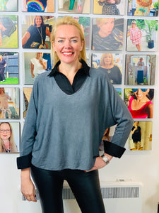 Soft Microfibre Layering Top with Collar and Cuffs (various colours) - chichappensboutique