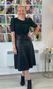 Leather Look A-Line Skirt - chichappensboutique