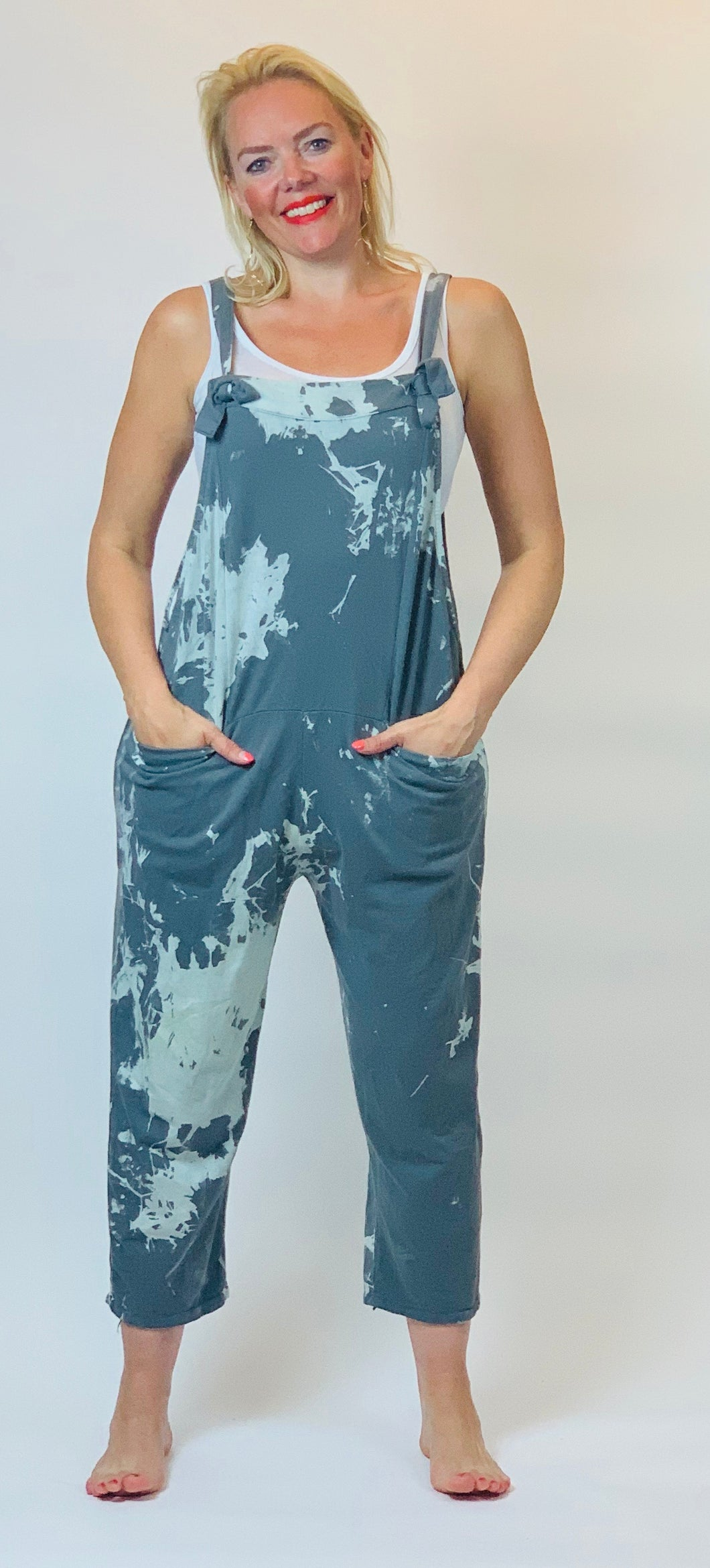 Soft Dungarees in Pollock Print - chichappensboutique