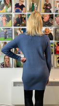 Load image into Gallery viewer, Pearl Cuff Longline Roll Neck in Denim Blue - chichappensboutique