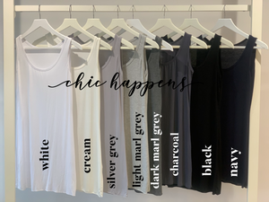 Essential Jersey Longline Vest Top (various colours) - chichappensboutique