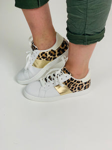 White trainers with leopard & gold trim - chichappensboutique