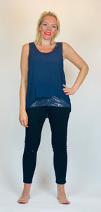 Double Layer Vest with Sequin Trim - chichappensboutique