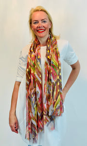 Abstract Peacock Scarf with Gold Fleck - chichappensboutique