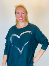 Load image into Gallery viewer, Silver Foil Heart Sweatshirt - chichappensboutique