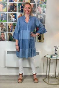 Soft Denim Perforated Tunic - chichappensboutique