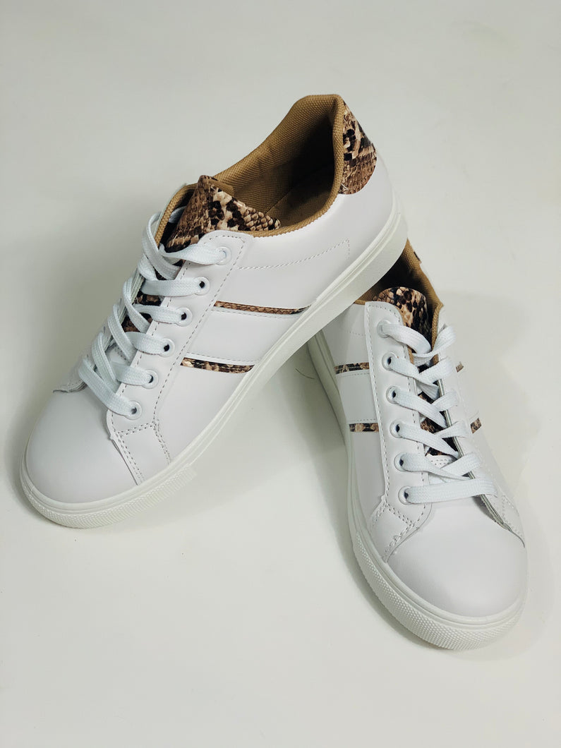 White trainers with brown snakeskin trim