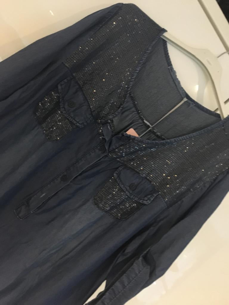Sequin Shoulder Soft Denim Tunic - chichappensboutique