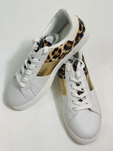 Load image into Gallery viewer, White trainers with leopard & gold trim - chichappensboutique