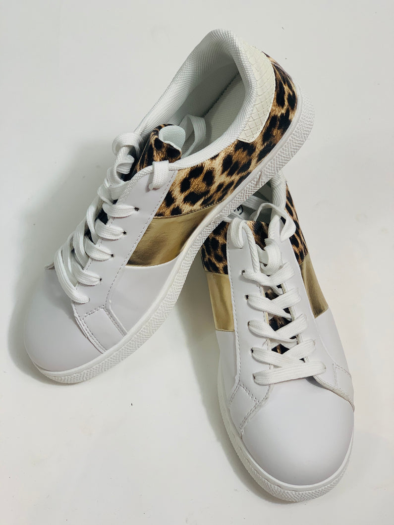White trainers with leopard & gold trim