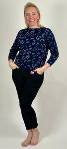 Navy Metallic Animal Knit - chichappensboutique