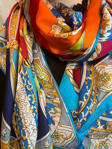 Satin scarf with chain design in turquoise & orange - chichappensboutique