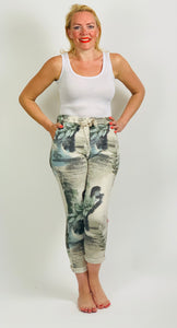 Tropical Print Essential Turn Up Trousers - chichappensboutique