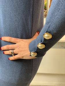 Pearl Cuff Longline Roll Neck in Denim Blue - chichappensboutique