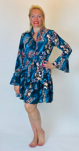 Jenerique Animal Swirl Ruffle Dress - chichappensboutique