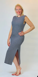 Breton Stripe Long T-Shirt Dress - chichappensboutique
