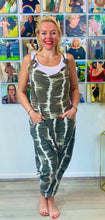 Load image into Gallery viewer, Tie Dye Dungarees with Coconut Shell Detailing - chichappensboutique