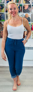 Essential Turn Up Trousers in Denim - chichappensboutique