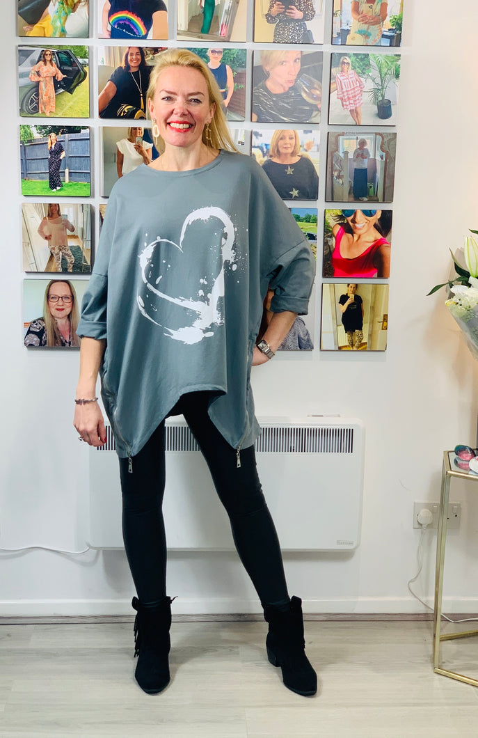 Painted Heart Side Zip Sweatshirt - chichappensboutique