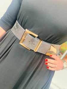 Pewter Stretch Belt with Gold Buckle