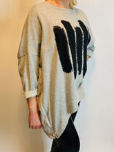 Load image into Gallery viewer, Brushstrokes Side Zip Detail Sweatshirt - chichappensboutique