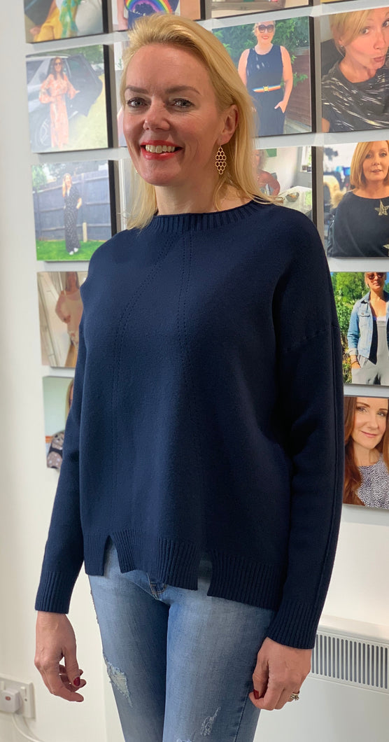 Navy Funnel Neck Delicate Detail Knit - chichappensboutique