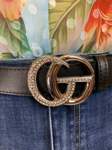 GG Belt Gucci Inspired in silver diamanté - chichappensboutique