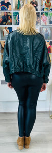 Cropped Leather Look Oversized Jacket - chichappensboutique