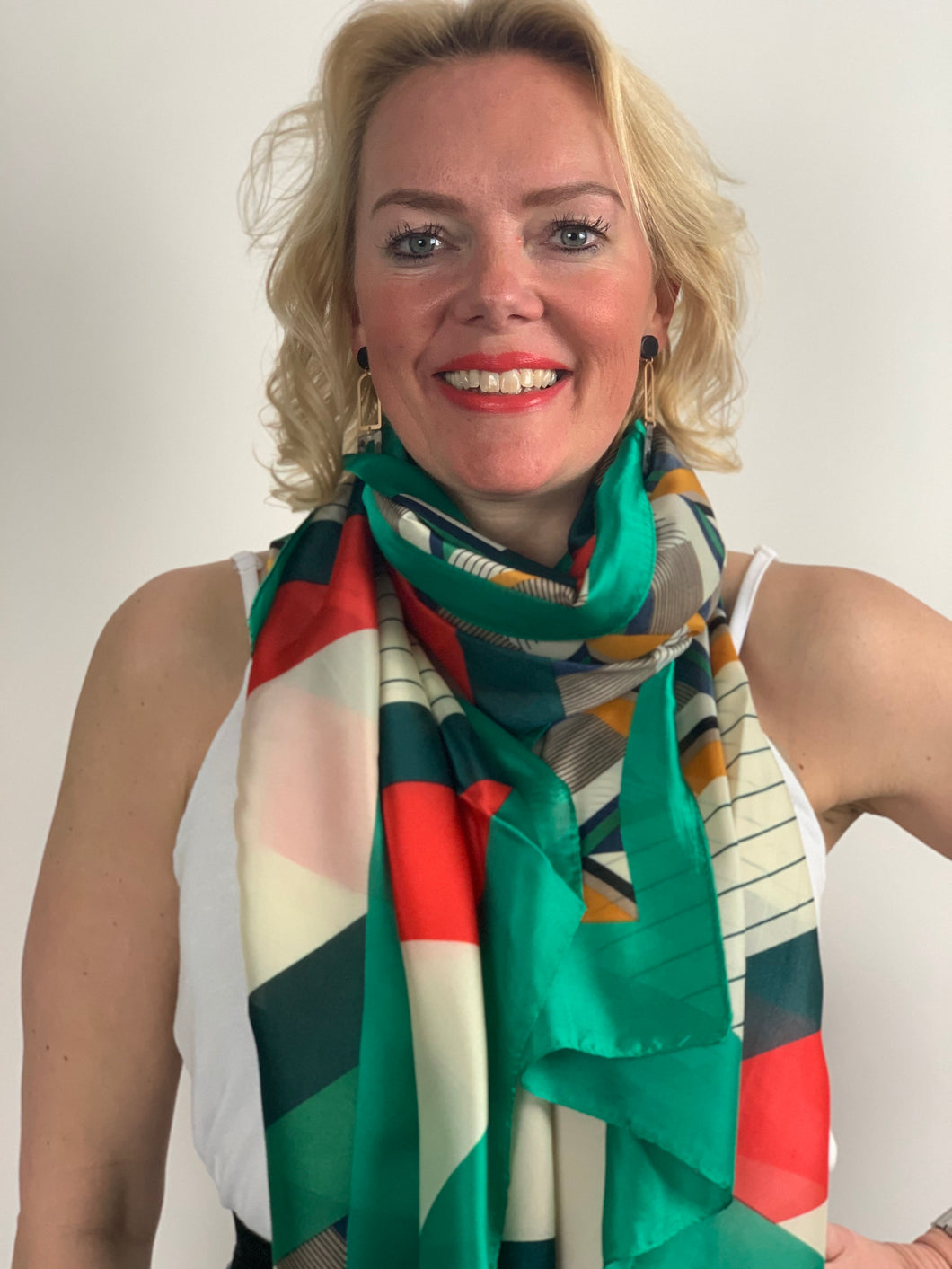 Spring Geo Satin Scarf - chichappensboutique
