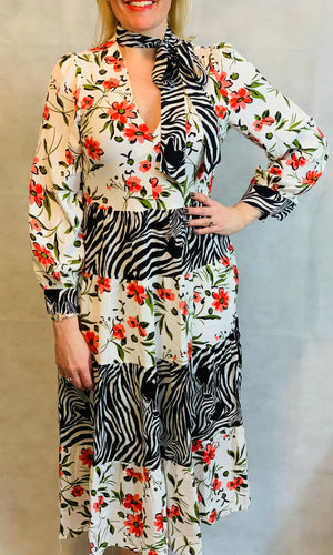 Floral Zebra Maxi Dress - chichappensboutique