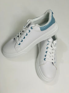White trainers with Baby Blue Detailing