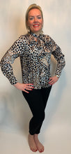 Load image into Gallery viewer, Pussybow and Ruffle Front Animal Blouse - chichappensboutique