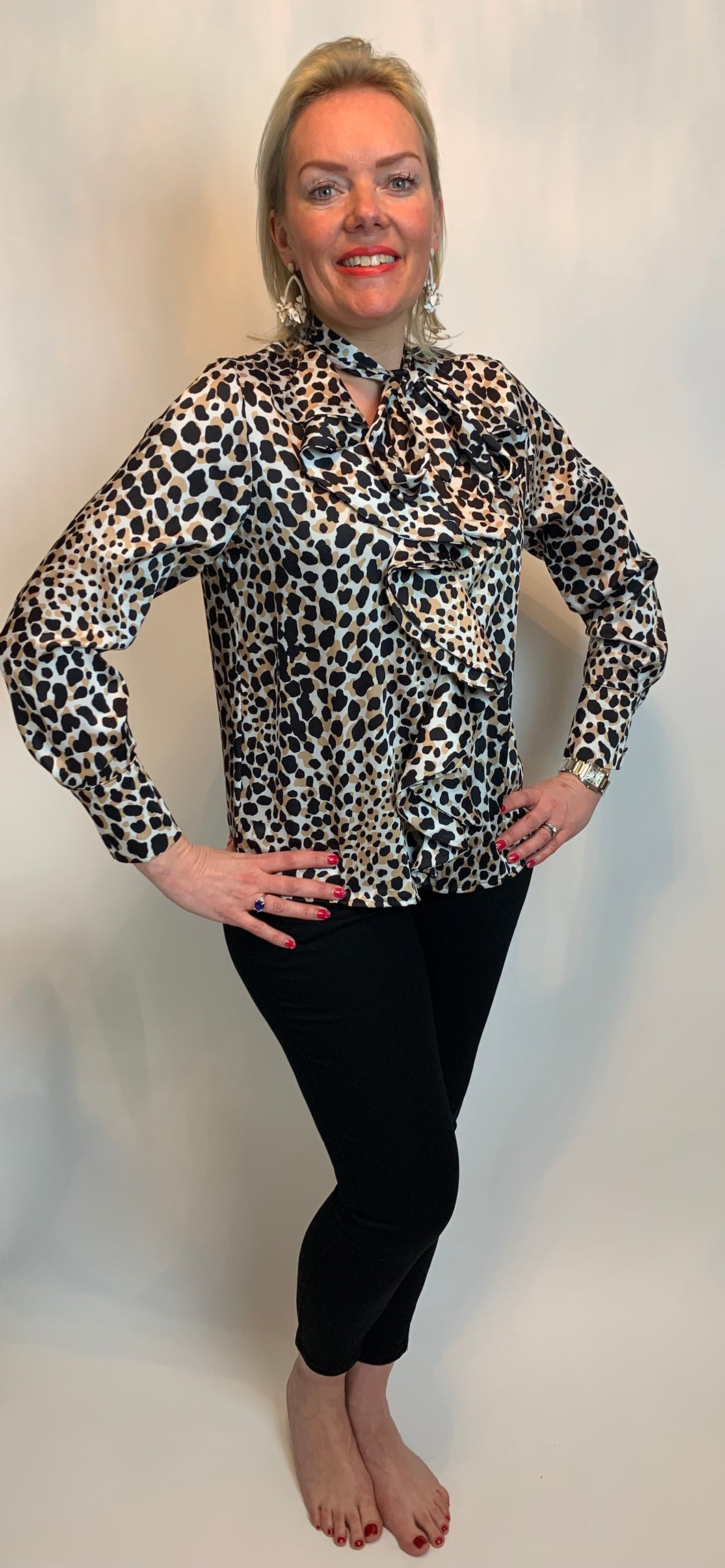 Pussybow and Ruffle Front Animal Blouse - chichappensboutique
