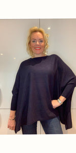 Navy Blue Poncho Knit - chichappensboutique