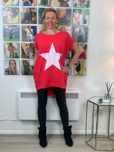 Longline Essential Star T-shirt (various colours) - chichappensboutique