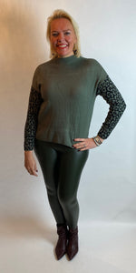 Khaki Animal Sleeve Knit - chichappensboutique