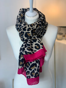 Woven Animal Scarf with Hot Pink Trim