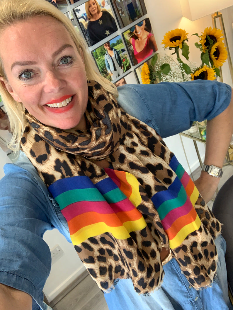 Rainbow Leopard Scarf - chichappensboutique