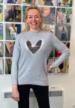 Load image into Gallery viewer, Grey Sequin Heart Knit - chichappensboutique